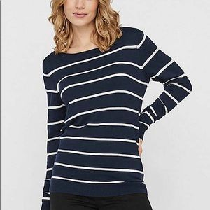 Striped Ribbed Boatneck Sweater